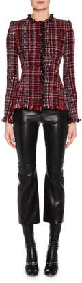 Alexander McQueen Jewel-Neck Artisan-Tweed Fitted Classic Jacket