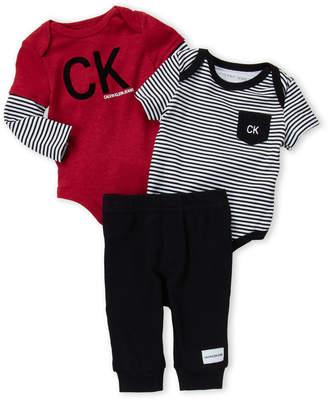 Calvin Klein Newborn Boys) 3-Piece Flocked Logo Bodysuit & Joggers Set