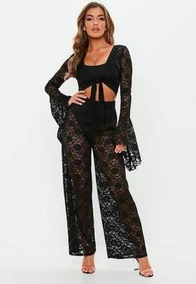 Missguided Black Wide Leg Lace Trousers, Black