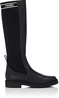 Fendi Women's Nappa Leather & Knit Boots - Black