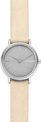 Skagen Signatur Nude-Tone Leather Strap Slim Watch, 30mm