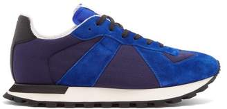 Maison Margiela Replica Runner Low Top Mesh And Suede Trainers - Mens - Blue Multi