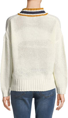 Dex Stripe-Trim Oversized Knit Sweater