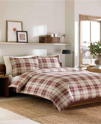 Eddie Bauer Montlake Plaid King Medium Red Flannel Duvet Cover Set Bedding
