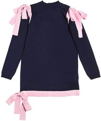 MSGM Merino Wool Blend Knit Dress W/ Bows