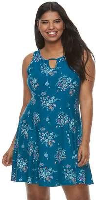 Mudd Juniors' Plus Size Sueded Jersey Skater Dress