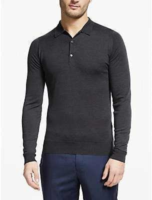 John Smedley Belper Long Sleeve Wool Polo Shirt