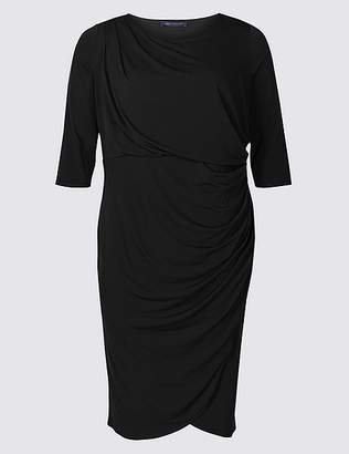 Marks and Spencer CURVE Drape Half Sleeve Wrap Midi Dress