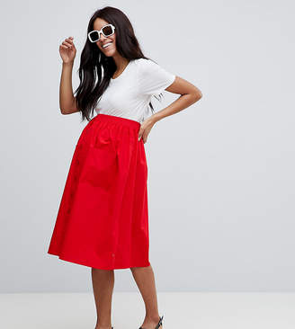 Asos DESIGN maternity cotton midi skirt with button front