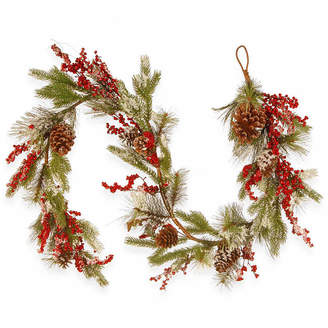 NATIONAL TREE CO National Tree Co. Pine Cones And Berries Flocked Evergreen Flocked Indoor/Outdoor Christmas Garland
