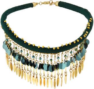 Panacea Green & Golden Drops Collar Necklace
