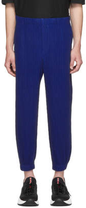 Issey Miyake Homme Plisse Blue Tapered Pleat Trousers