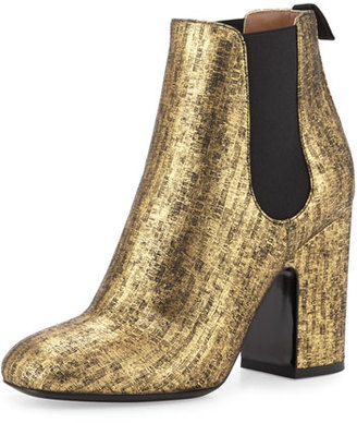 Laurence Dacade Mila Metallic 100mm Chelsea Boot, Black/Gold $950 thestylecure.com