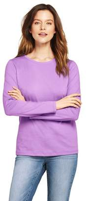 Lands' End Purple Petite Supima Long Sleeves Crew Neck T-Shirt