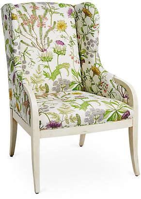 Massoud Furniture Anne Wingback Chair - Wild Oasis