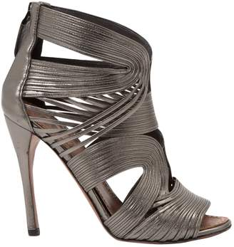 Alaia Silver Leather Sandals