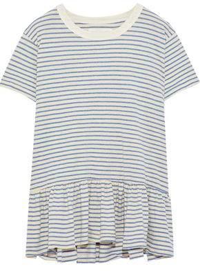 The Great Striped Cotton-Blend Jersey Peplum T-Shirt