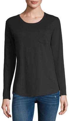A.N.A Relaxed Pocket Tee Long Sleeve Scoop Neck T-Shirt-Womens