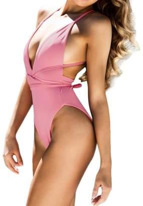 TAORE Womens Bikini One Piece, Women Girls Bikini Set Padded Bathing Sexy Beach Bodysuit Swimsuit Swimwear (M, )