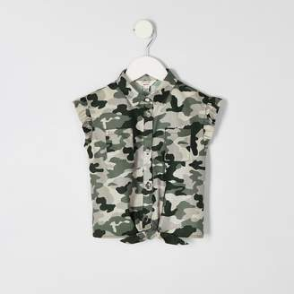 River Island Mini girls Khaki camo tie front shirt