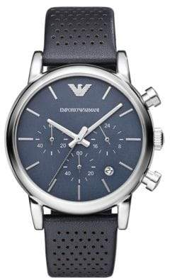 Emporio Armani Luigi Silvertone Chronograph Leather Strap Watch
