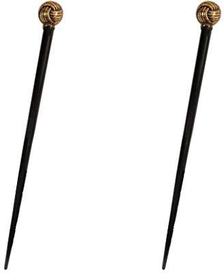 Caravan Black Lacquered Hair Stick Decorated in 1 of Many Ropes Antique Gold Bead and Spacer