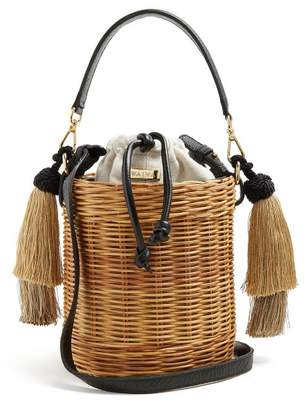 Wai Wai - Sabia Woven Rattan Bucket Bag - Womens - Black Cream