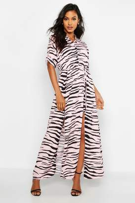 boohoo Woven Zebra Maxi Shirt Split Dress