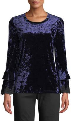 Kobi Halperin Flare-Sleeve Lace-Trim Velvet Blouse