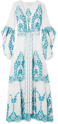Leone we are Broderie Anglaise Cotton Robe - White