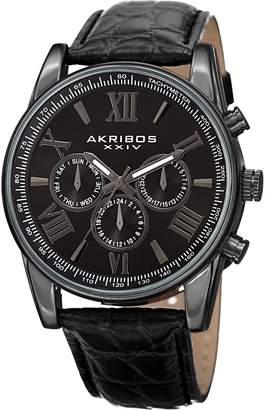 Akribos XXIV Men's Multifunction Black Leather Strap Watch