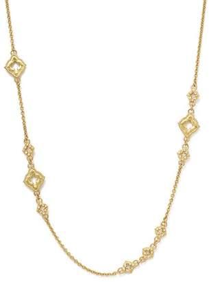 "Armenta 18K Yellow Gold Sueno Clover Scroll Station Champagne Diamond Necklace, 19"""