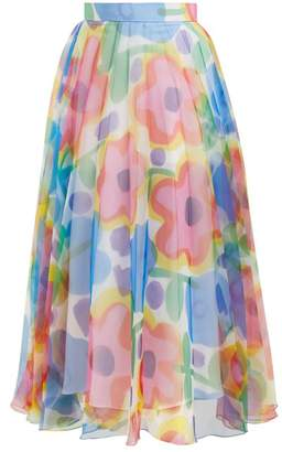Christopher Kane - Floral Print Pleated Organza Skirt - Womens - Multi