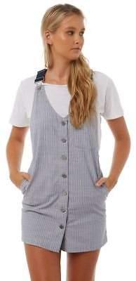 Volcom New Women's Cham Stripe Dress V-Neck Cotton Stripe