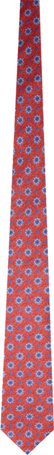 Isaia Flower Print Tie