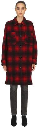 Etoile Isabel Marant Gario Oversize Wool Blend Plaid Coat