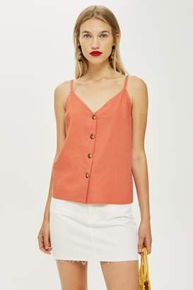 Topshop Womens Button Through Cami Top - Terracotta