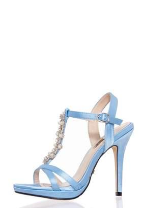 Quiz Blue Satin Pearl Heel Bridal Sandals