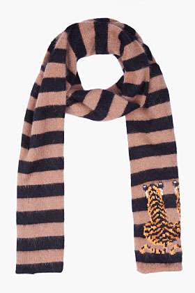 MULBERRY Layered Angora Blend Tiger Scarf