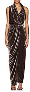 Rick Owens Women's Limo Draped Velvet Wrap Dress - Raisin