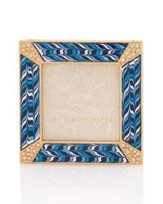 """Jay Strongwater Pave Corner 2"""" Square Picture Frame, Indigo"""