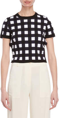 Liviana Conti Cropped Short Sleeve Check Sweater