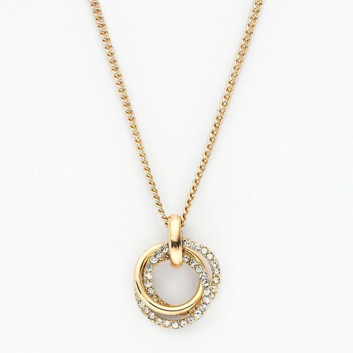 Lauren Conrad gold tone simulated crystal interlocking circle long pendant