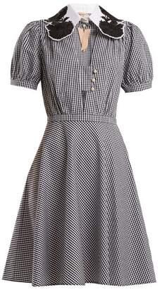 No. 21 - Embellished Collar Gingham Cotton Dress - Womens - Black White