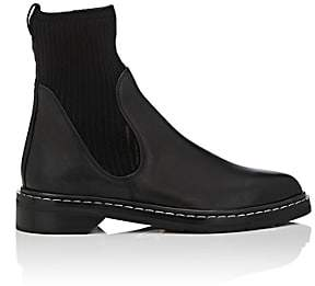 The Row Women's Fara Leather & Knit Ankle Boots-Black, Black
