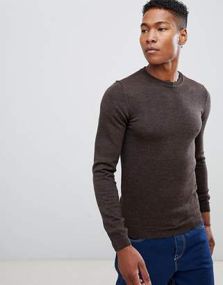Asos Muscle Fit Crew Neck Sweater in Merino Wool