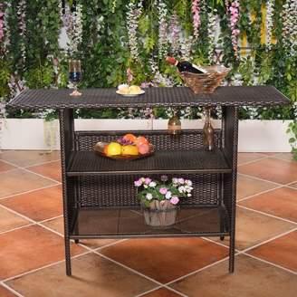 Ebern Designs Huston Outdoor Wicker Counter Bar Table