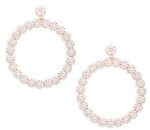 Rose Goldplated Cubic Zirconia Pave Disk Drop Hoop Earrings