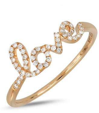 Bony Levy 18K Rose Gold Diamond Accent Love Ring - 0.13 ctw
