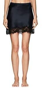 LFrank by Liseanne Frankfurt Women's Aphrodite Lace-Trimmed Silk Half-Slip Skirt-Navy